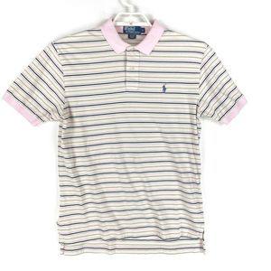 Polo Ralph Lauren Polo Shirt Pink Green Striped L